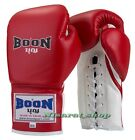 BOON BOXING GLOVES LACE UP RED 12,14,16 OZ. MUAY THAI MMA GENUINE LONG CUFF