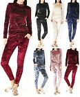 Womens Crushed Velvet Tracksuit Sweatshirt Joggers Lounge Wear Plus Size UK 8-26