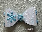 Girls Blue White Glitter Frozen Hair Bow Hair Clip Headband 3.5 inch HANDMADE