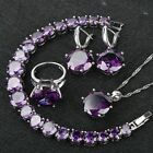 Very beautiful Purple Amethyst Set 925 Silver Necklace Earrings Ring Bracelet