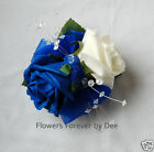 WRIST CORSAGE IVORY DIAMANTE CRYSTAL SPRAY WEDDING  FLOWERS -  MANY COLOURS
