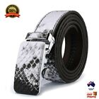 XHtang Snake Skin Print Men's Automatic Buckle Genuine Leather Belt Classic Gift