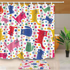 Cute cats and doys Bathroom Shower Curtain Waterproof Fabric w/12 Hooks 71*71in
