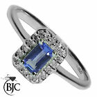 BJC® 9ct White gold Tanzanite & Diamond cluster size L engagement ring R25