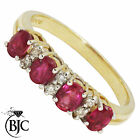 BJC® 9ct yellow gold Ruby & Diamond Eternity size R engagement dress ring R16