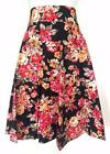 BLACK FLORAL ALINE SWING SKIRT FULL PLUS PINUP ROCKABILLY RETRO PARTY XL 2X 3X