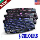 Cool Crack 3 colors LED Illuminated Backlight USB Wired Gaming Keyboard +Mouse e