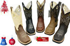 beige boots leather - MEN'S RODEO COWBOY BOOTS GENUINE LEATHER WESTERN SQUARE TOE BOTAS-CARR 721