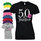 50th Birthday Gift T Shirt 50 And Fabulous Made In 1968 Love Kiss Ladies Tee Top