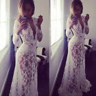 Lady Lace Floral Boho Long Maxi Dress Party Wedding Ball Gown Plus Size S-XL US