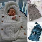 Newborn Baby Hooded Swaddle Wrap Warm Hand Knit Swaddling Blanket Sleeping Bag
