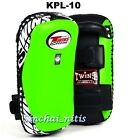 TWINS SPECIAL KICKING CURVED PADS  KPL-10 GREEN LEATHER  MUAY THAI MMA TRAINING