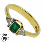 BJC® 18ct Yellow gold Emerald & Diamond trilogy size N engagement dress ring R35