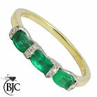 BJC® 9ct Yellow gold Emerald & Diamond trilogy size N engagement dress ring R39