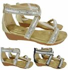 LADIES OPEN TOE GLADIATORS SUMMER WEDGE SANDAL,SILVER GOLD BLACK SIZES 3-8 68-11