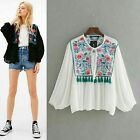 2 COLORS VTG CHIC VICTORIAN FLORAL EMBROIDERED DRESS BOMBER BLOUSE TUNIC JACKET