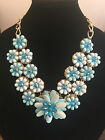 Stunning Floral Accent Bib Fashion Necklace