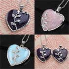 Women Heart Healing Mineral Gemstone Pendant Chakra Reiki Necklace Jewelry