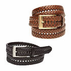 New Saddlebred Men's Double Weave Leather Casual Braided Belt Brown Black 36-44