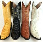MEN'S WESTERN COWBOY CROCODILE PRINT EMBOSSED LEATHER BOOTS HAND MADE
