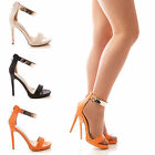LADIES WOMENS PEEP TOE HIGH HEEL ANKLE STRAP SANDALS PARTY SANDAL PROM SHOE SIZE