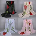 New Women's Long Soft Wrap Lady Shawl Silk Rose Flower Print Chiffon Scarf