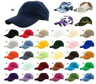 Baseball Cap Hat 100% Cotton Polo Style Washed Plain Solid Adjustable Size