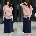 Womens Loose Cotton Linen T-shirt Simple Comfort Leisure Ruched Short Sleeves