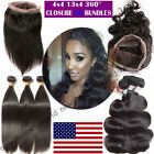 Brazilian Body Wave Virgin Hair Weave 1-3 bundles 360 Frontal Lace Closure B485