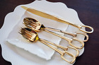 """Hermes Style """"H"""" Stainless Gold Cutlery/Sliverware/Flatware Spoon.Fork.Knife"""