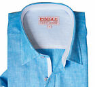 NWT Inserch Mens Short Sleeve 100% Linen Shirt With Contrast Trimming Size S-6X