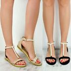 Womens Ladies Flat Summer Sandals Diamante Strappy Low Heel Size