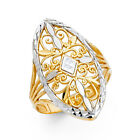 25mm 14K Solid Gold Two Tone Engraved Women Fancy Ring