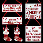 Christmas White Plaque with Red Glitter Decoration - Choose Design
