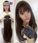 Long Straight Synthetic Clip in Hair Topper Top Hairpiece with Air Bang for Wome