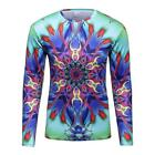 Logas Mens T-shirt 3D Printed Colorful Stylish Crew Neck Sports Tops Long Sleeve