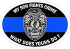 My Son Fights Crime Blue Line Reflective Decal Sticker Police Sheriff LEO Deputy