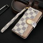Luxury famous flip card grid leather wallet stand case cover for many phone LV6
