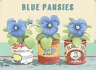 BLUE PANSIES FLOWER GARDEN GREENHOUSE GARDENING PLANTS TIN SIGN METAL PLAQUE 129