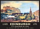 EDINBURGH IT'S QUICKER BY RAIL TRAIN CASTLE SCOTLAND TIN SIGN METAL PLAQUE 673