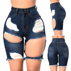 US Women High Waisted Washed Ripped Hole Short Mini Jeans Pants Shorts Summer