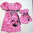 "Minnie Mouse 60's Inspired Dress Girls Plus 18"" Doll Size 1T 2T 3T  Red Or Pink."