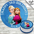 FROZEN ELSA AND ANNA EDIBLE BIRTHDAY CAKE TOPPER DECORATION PERSONALISED
