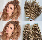 Tape in Hair Extensions Human Hair  20pcs Seamless Skin Weft Remy Curly Hair