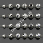 Tibetan Silver Carved Hollow Round Metal Connector Round Charm Findi Beads