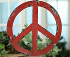 Rustic Red Metal Groovy Peace Sign Wall Hanging Home Door Decor