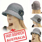 Ladies Bucket Cloche 20s Flapper Party Chemo Hair Loss Linen Cotton Deep Hat