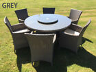 RATTAN GARDEN FURNITURE TABLE WITH LAZY SUSAN 6 SEATER  ALUMINIUM FRAME