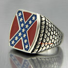 Men's Large Square Stainless Steel American Heritage South Cross Pride Ring