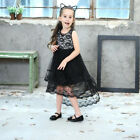 Children Girl Lace Dressing Sleeveless Floral Bridemaid Party TuTu Dresses